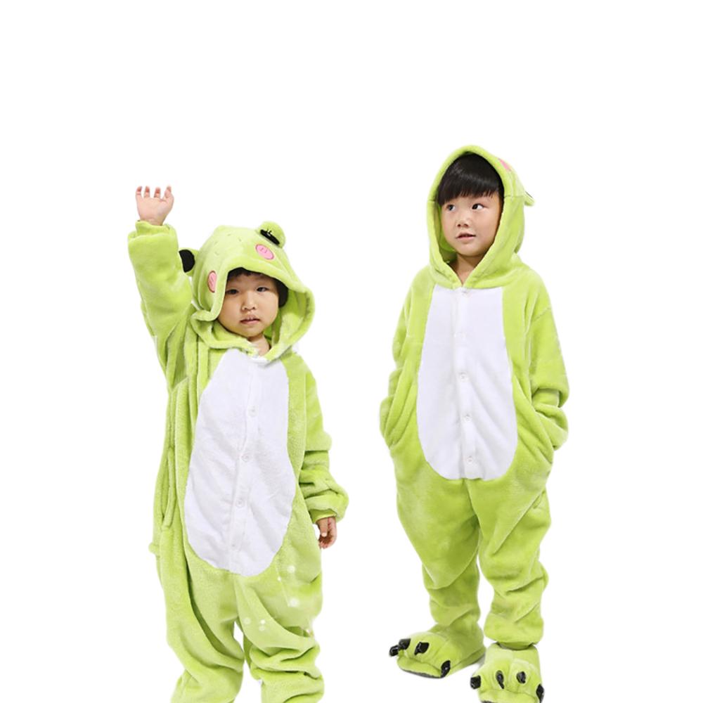 3Dフード付きアニマル模様、柔らかな着ぐるみロンパースです! VeroMan 子供用 動物 きぐるみ カエル パジャマ ホームウェア 寝間着 コスチューム