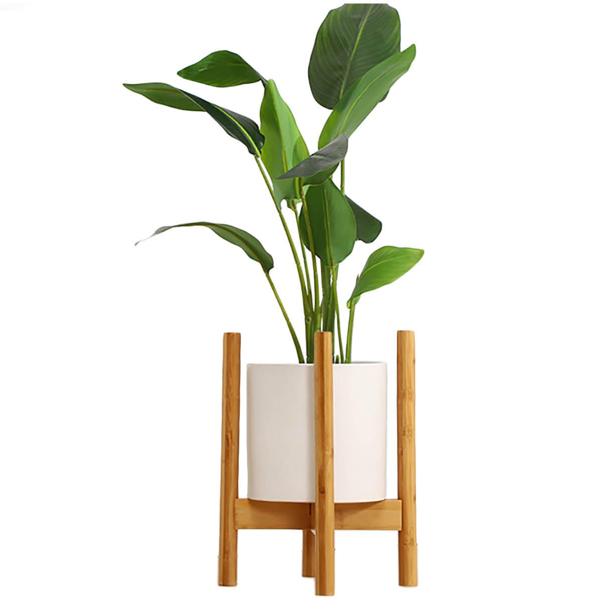 簡単な組み立て式、シンプルでコンパクトなデザイン!! [高さ38cm] VeroMan ポットスタンド フラワースタンド 竹製 直径30cm 調整可 植木鉢 ガーデニング 室内 室外 花台