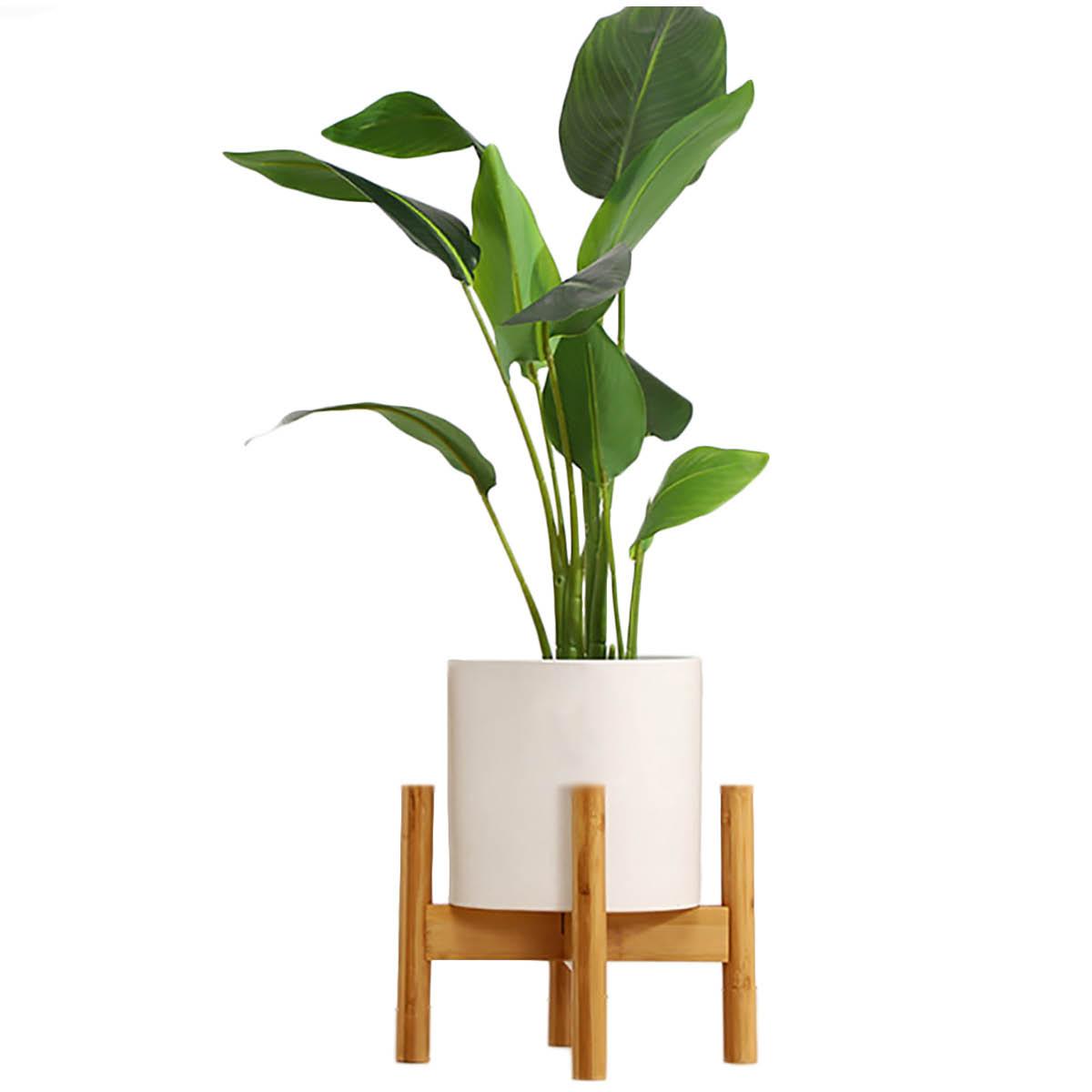 簡単な組み立て式、シンプルでコンパクトなデザイン!! [高さ18cm] VeroMan ポットスタンド フラワースタンド 竹製 直径30cm 調整可 植木鉢 ガーデニング 室内 室外 花台