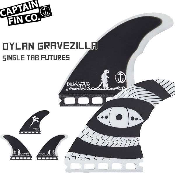 CAPTAIN FIN(キャプテンフィン) DYLAN GRAVEZILLA 4.5 BLK THRUSTER SINGLE TAB FUTURES フィン