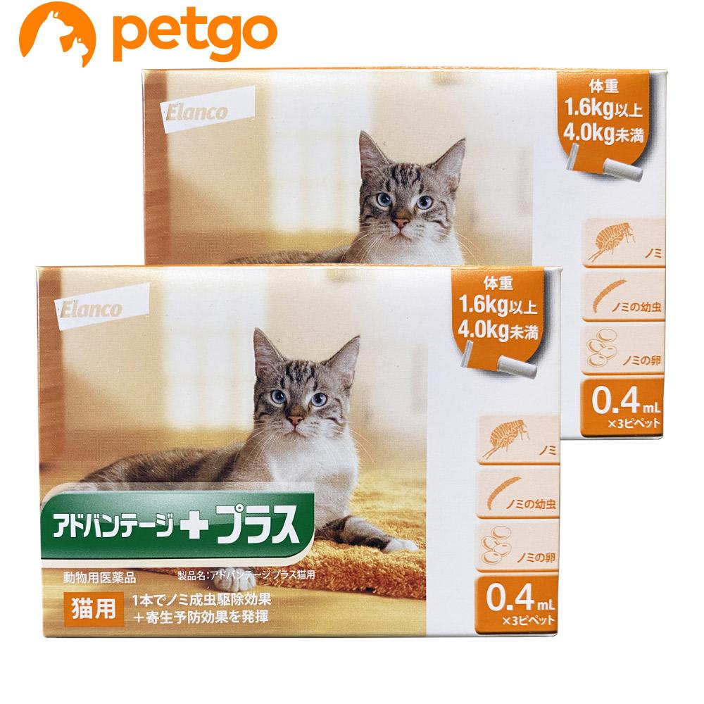【2箱セット】アドバンテージプラス 猫用 0.4mL 1.6~4kg 3ピペット(動物用医薬品)【あす楽】