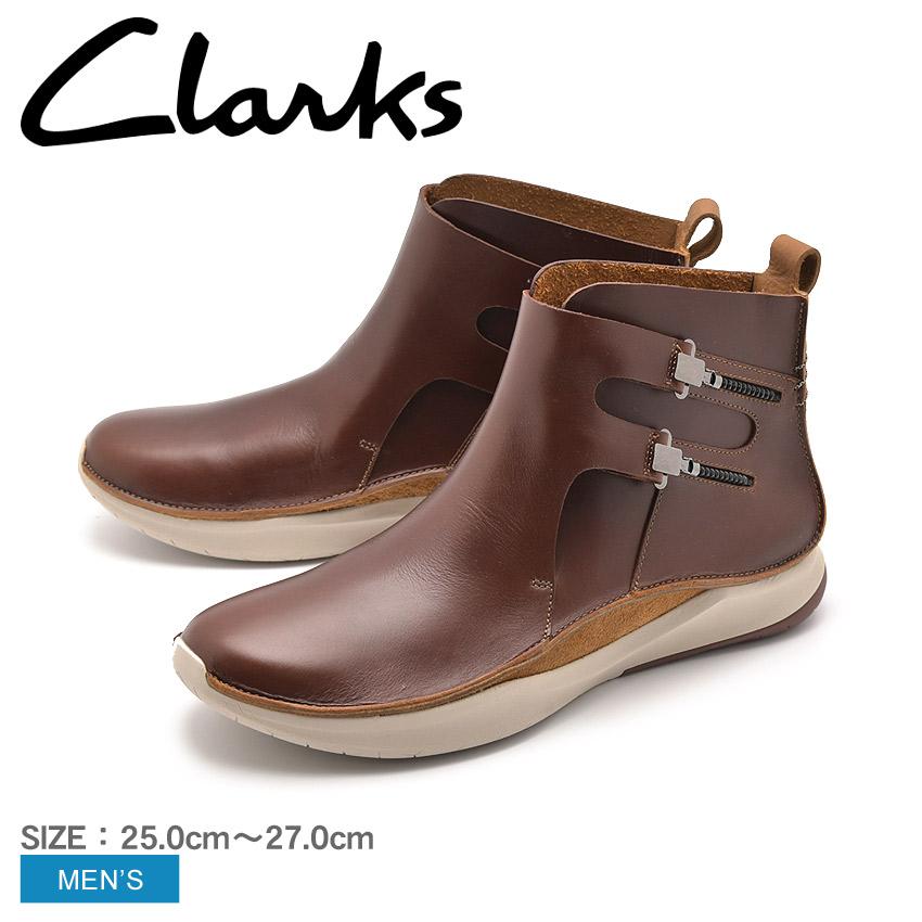 【最大500円引きクーポン】送料無料 【CLARKS】 クラークス ショートブーツ レザー 革靴 メンズ 本革 ブラウン プリボルーション PRIVOLUTION M2 26138430