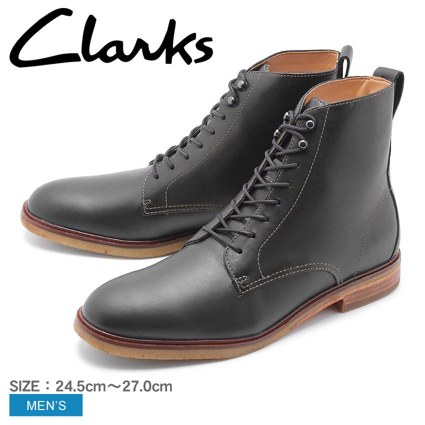 送料無料 天然皮革で洗練されたデザインの8ホールブーツ 【CLARKS】 クラークス ブーツ メンズ クラークデール リッチ CLARKDALE RICH 26136265 8ホール ブラック 革 革靴 レースアップ レザー カジュアル
