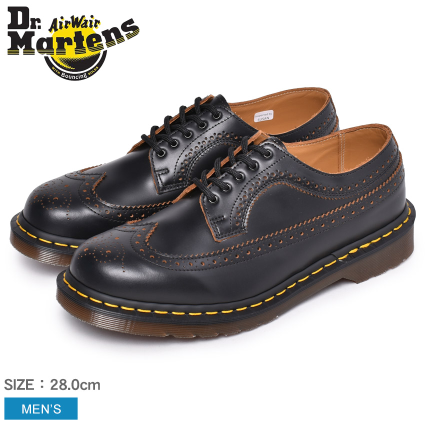 DR.MARTENS ドクターマーチン メンズ マーチン イギリス製 ビンテージ 5ホール シューズ 紳士靴 革靴 フォーマル ブランド 天然皮革 レザー ウィングチップ ヴィンテージ イングランド 英国 黒 おしゃれ