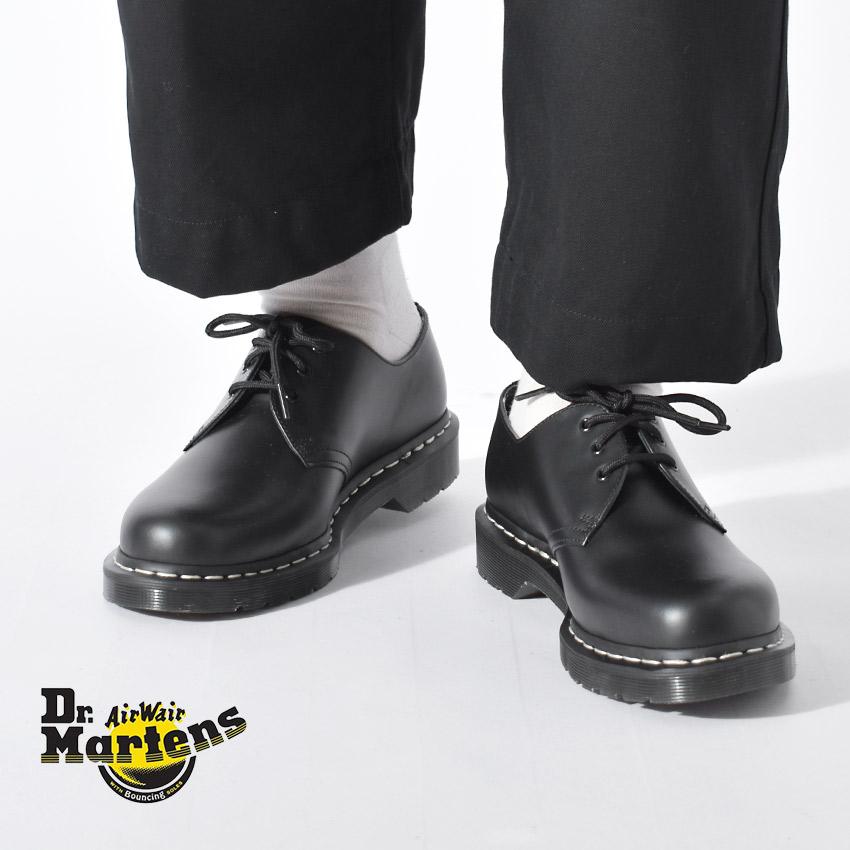 ドクターマーチン シューズ DR.MARTENS 3ホール シューズ メンズ レディース 1461 ホワイトステッチ 3ホールシューズ 靴 カジュアル ローカット 人気 定番 モノトーン おしゃれ 短靴 ブラック 黒 24757001 1461 WHITE WELT 3EYE SHOE