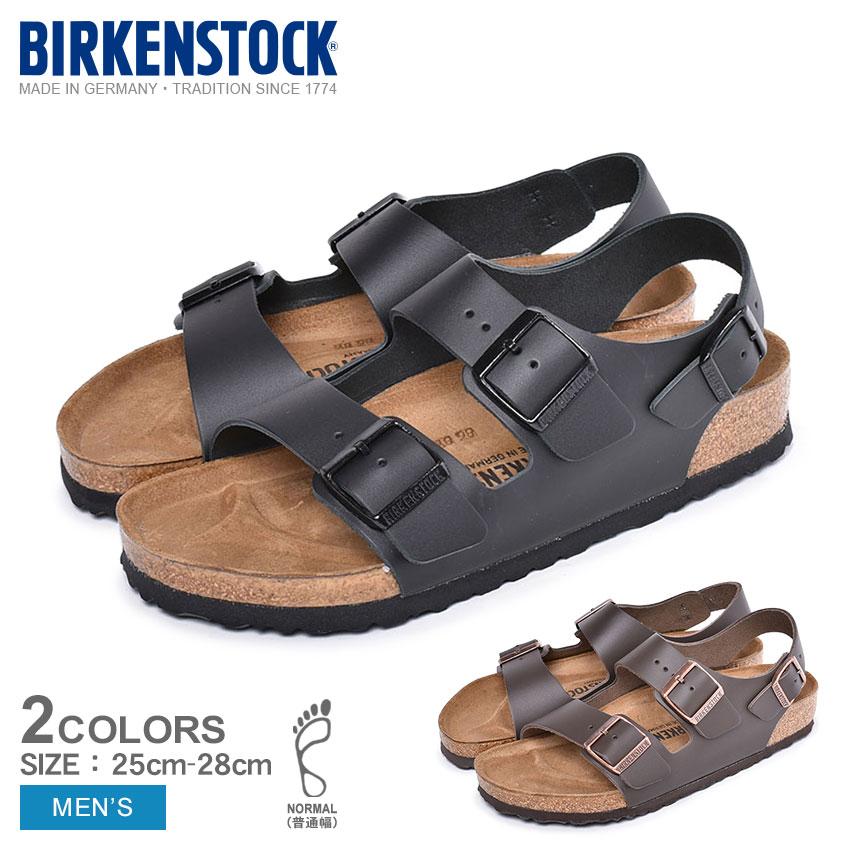 【BIRKENSTOCK】 ビルケンシュトック サンダル メンズ ミラノ メンズ 天然皮革 レザー MILANO 普通幅 本革 靴 コンフォートサンダル カジュアル シンプル スポサン 高級 人気 ブランド 海 ビーチ 男性 黒 茶色 軽い 歩きやすい 父の日