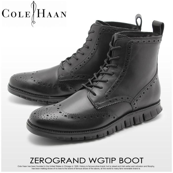 コールハーン ブーツ COLE HAAN ゼログランド ウイングチップ ブーツ ブラック (COLE HAAN C23299 ZEROGRAND WINGTIP BOOT) メンズ MEN スムース レザー カジュアル シューズ