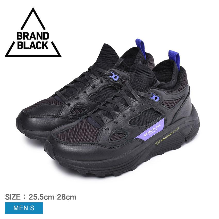 【BRAND BLACK】ブランドブラック スニーカー メンズ ブランド ダッドシューズ おしゃれ 黒 パープル 紫 カジュアル AURA アウラ 421BB