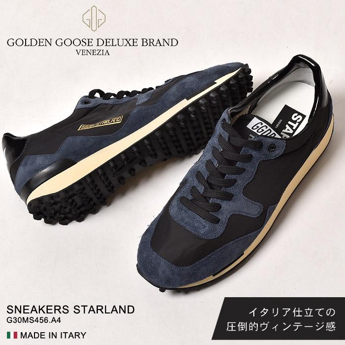 ゴールデングース GOLDEN GOOSE スニーカーズ スターランド ブルー×ブラック SNEAKERS STARLAND G30MS456.A4 シューズ 靴 レザー イタリア ローカット ヴィンテージ メンズ MEN