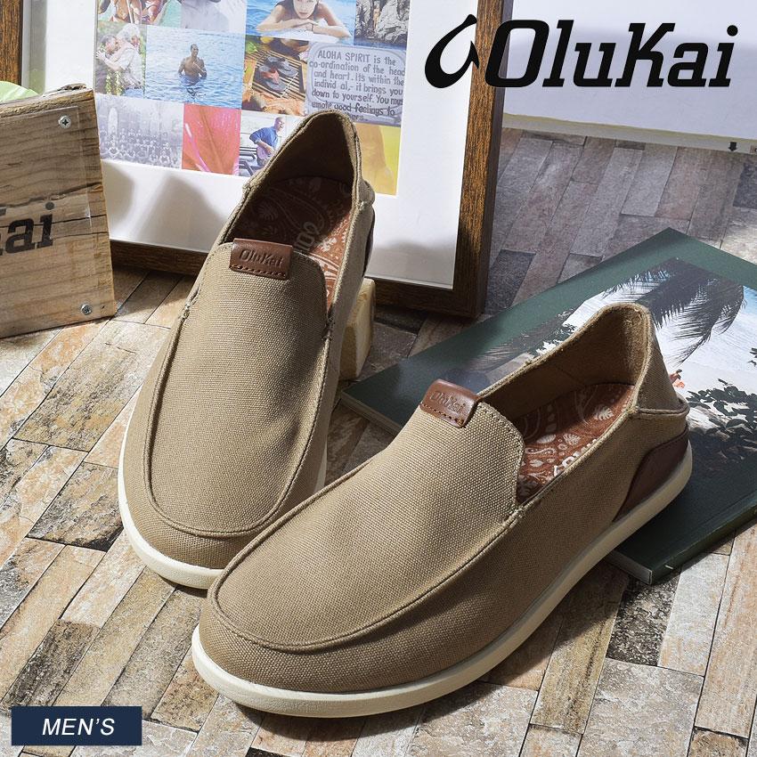 オルカイ スリッポン OLUKAI メンズ レザー 革靴 モノア MONOA SLIP-ON 10382 1033 キャンバス 2way ドロップイン かかと カジュアル シンプル きれいめ おしゃれ グリップ 生体工学 サポート 機能 ベージュ サーフ