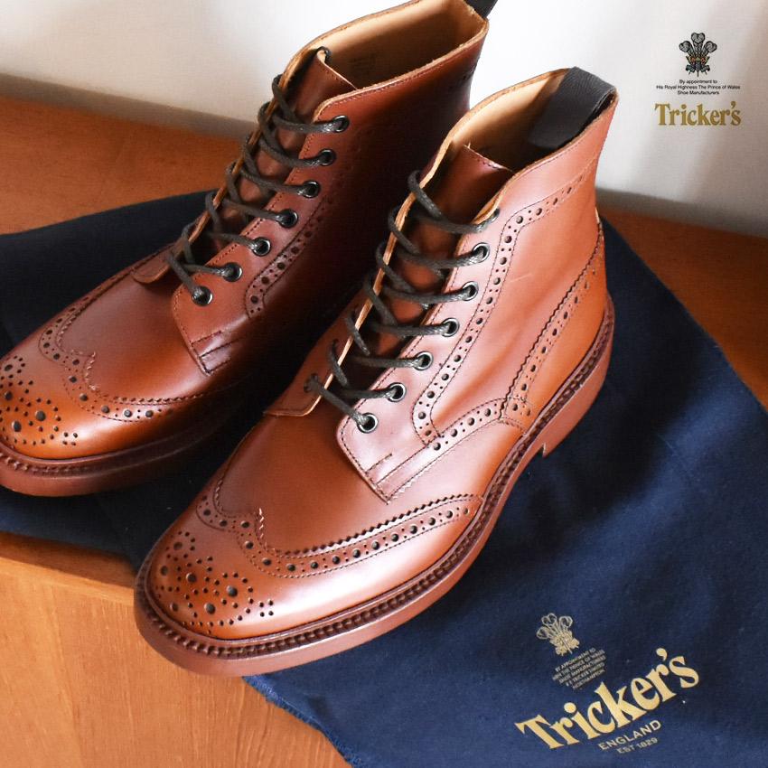 売り尽くしSALE!【37%OFF】トリッカーズ ブーツ TRICKERS ストウ ダブルレザーソール マロンアンティーク 革靴 TRICKER'S 5634 1 BROGUE BOOTS STOW ブローグブーツ メンズ ブラウン 茶色 紳士靴 ブランド イギリス おしゃれ