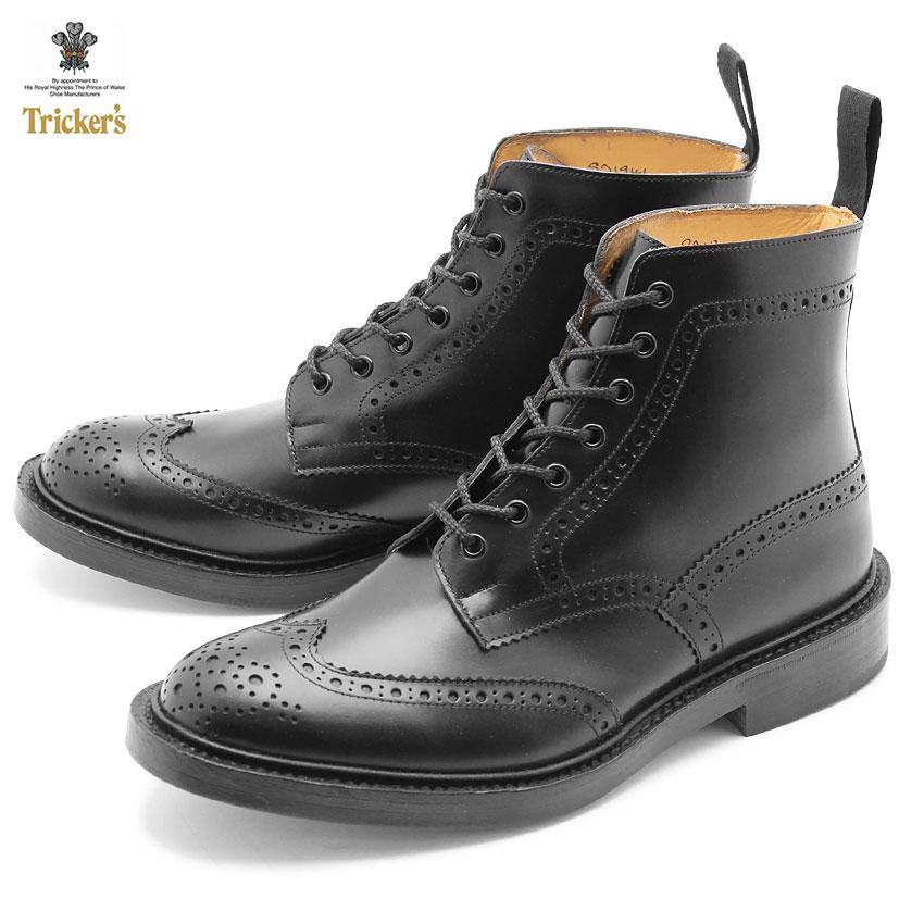 売り尽くしSALE!【37%OFF】トリッカーズ ブーツ TRICKERS ストウ 5634 BROGUE BOOTS STOW レザー 紳士靴 黒 ブラック TRICKER'S ダブルレザーソール ブラックカーフ メンズ ショート丈 イギリス ブランド 革靴