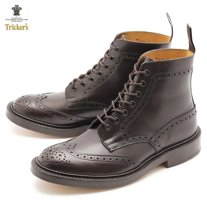 トリッカーズ ブーツ TRICKERS BROGUE BOOTS STOW ストウ レザー 革靴 紳士靴 メンズ おしゃれ ダブルレザーソール エスプレッソバーニッシュ TRICKER'S 5634 5 イギリス 高級 ブランド
