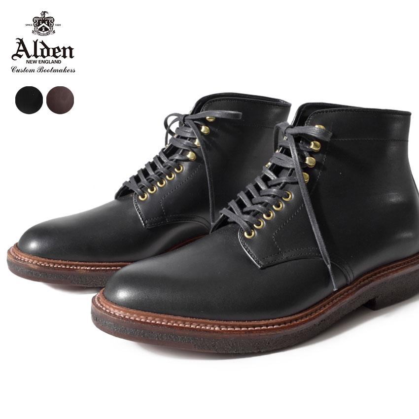 \SALE開催中/【ALDEN】 オールデン 紳士靴 本革 プレーントゥ ブーツ PLAIN TOE BOOTS 4515H 4513H 革靴 レザー 老舗 ブランド カーフスキン 黒 茶色 ダークブラウン ブラック メンズ