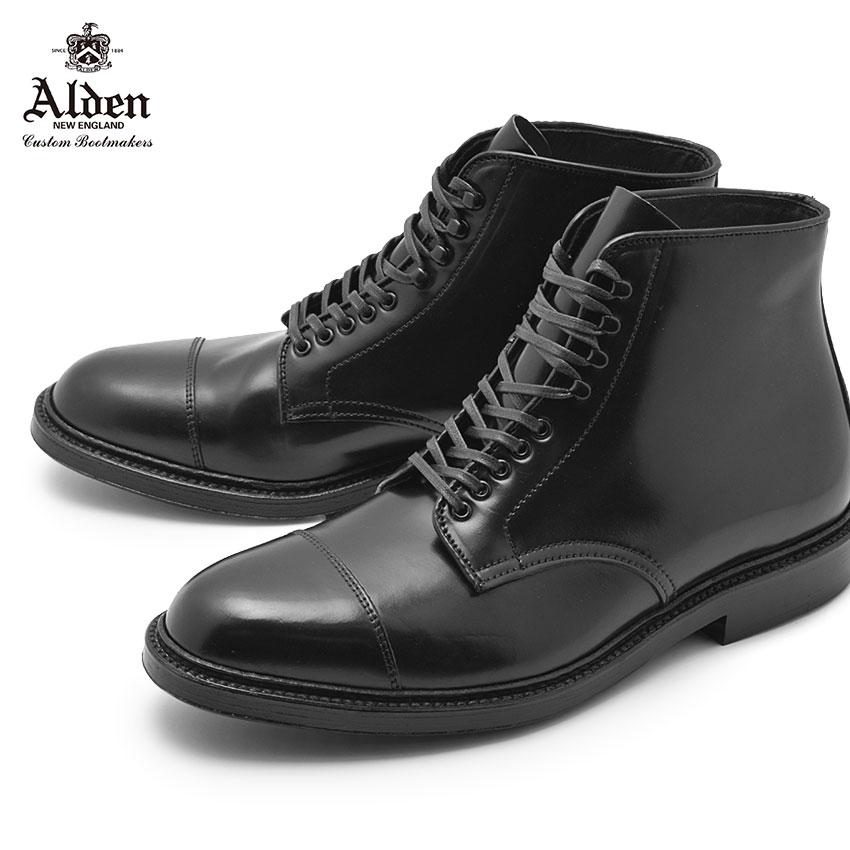 【ALDEN】 オールデン ストレートチップ ブーツ 紳士靴 ブラック STRAIGHT CHIP BOOT M8805HY 黒 ビジネス シューズ ドレス 革靴 レザー トラディショナル フォーマル 馬革 高級 ブランド 人気