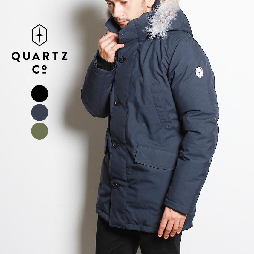 【限定クーポン配布】 ダウンジャケット ブランド メンズ QUARTZ Co. クオーツコー クォーツ ダウンコート アウター シンプル 取り外せるフード カジュアル アウトドア ファー 通勤 高級 上着 保温 防寒 黒 紺 カーキ