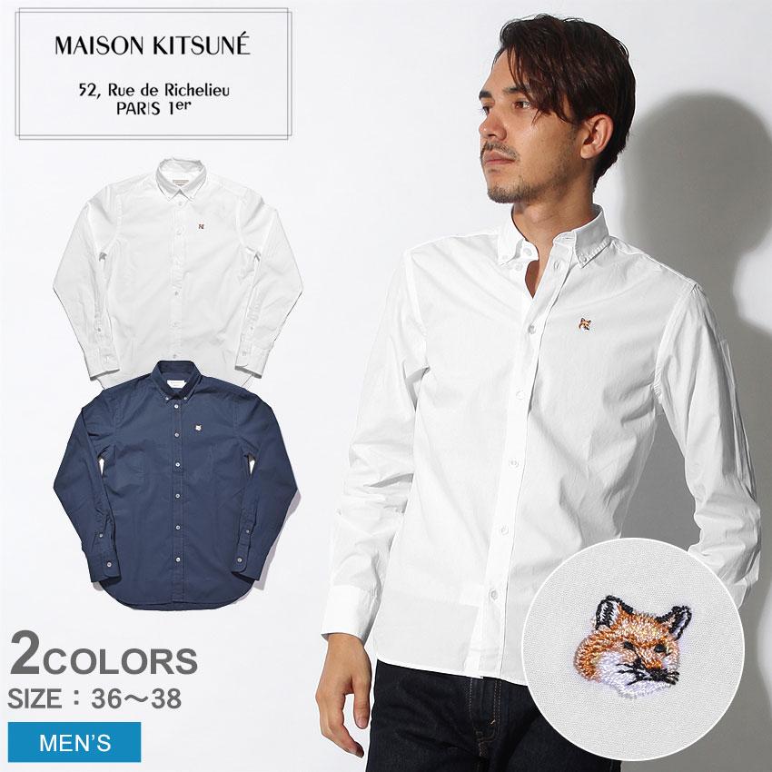 ★送料無料 MAISON KITSUNE メゾンキツネ 長袖シャツ 全2色ポプリン クラシック シャツ BD POPLIN CLASSIC SHIRT BDAM00405AT1001 WH NA メンズ