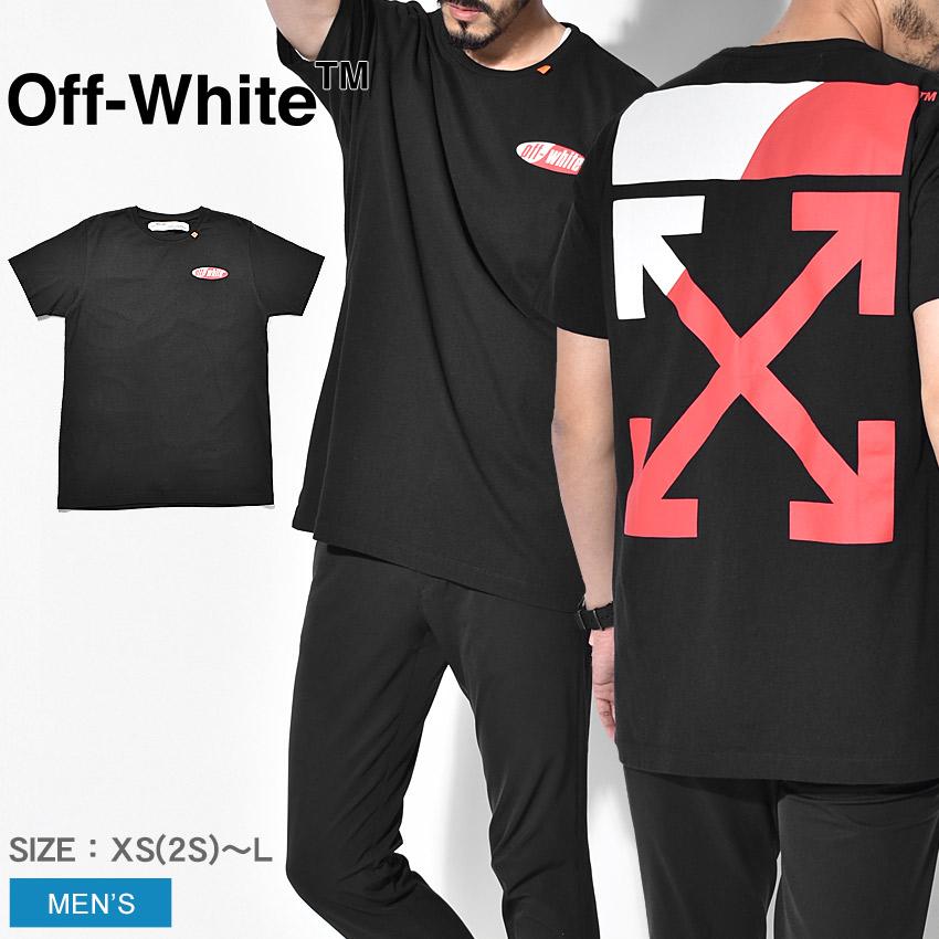 【限定クーポン配布】 【OFF-WHITE】 オフホワイト Tシャツ 半袖 メンズ OMAA027S1918 スプリット ロゴ スリム Tシャツ バックプリント グラフィック ブラック ブランド カジュアル ストリート トップス 夏 服 おしゃれ 個性 黒 赤 アロー デザイン