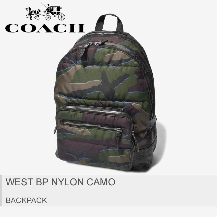 【COACH】 コーチ リュックサック ウェスト バックパック ナイロン カモ WEST BP NYLON CAMO F31319 QBGRU メンズ レディース レザー 迷彩 ギフト 本革 キルティング