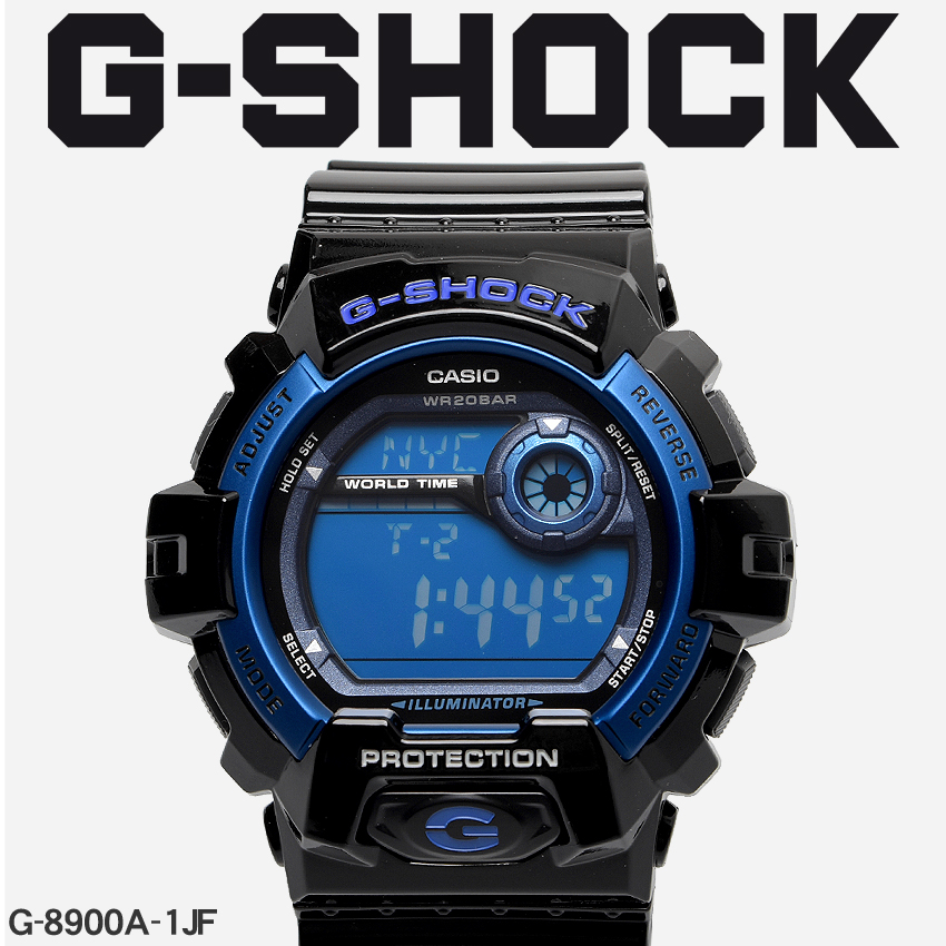 【最大500円引きクーポン】【お取り寄せ商品】 送料無料 G-SHOCK ジーショック CASIO カシオ 腕時計 ブラック8900G-8900A-1JF メンズ 【メーカー正規保証1年】