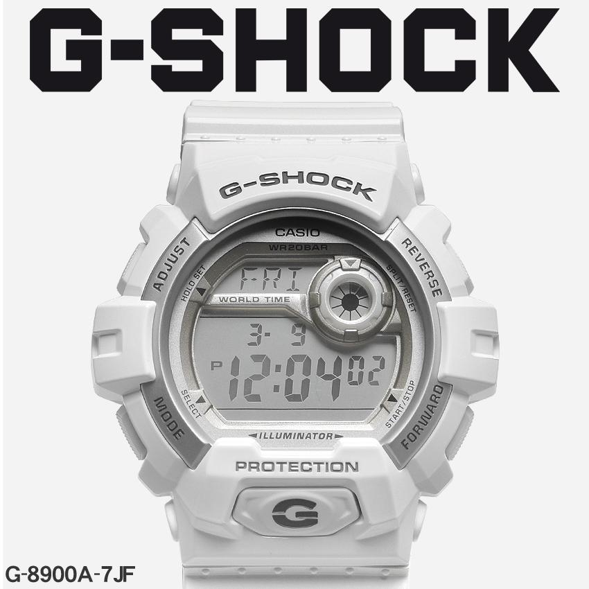 【最大500円引きクーポン】【お取り寄せ商品】 送料無料 G-SHOCK ジーショック CASIO カシオ 腕時計 ホワイト8900G-8900A-7JF メンズ 【メーカー正規保証1年】