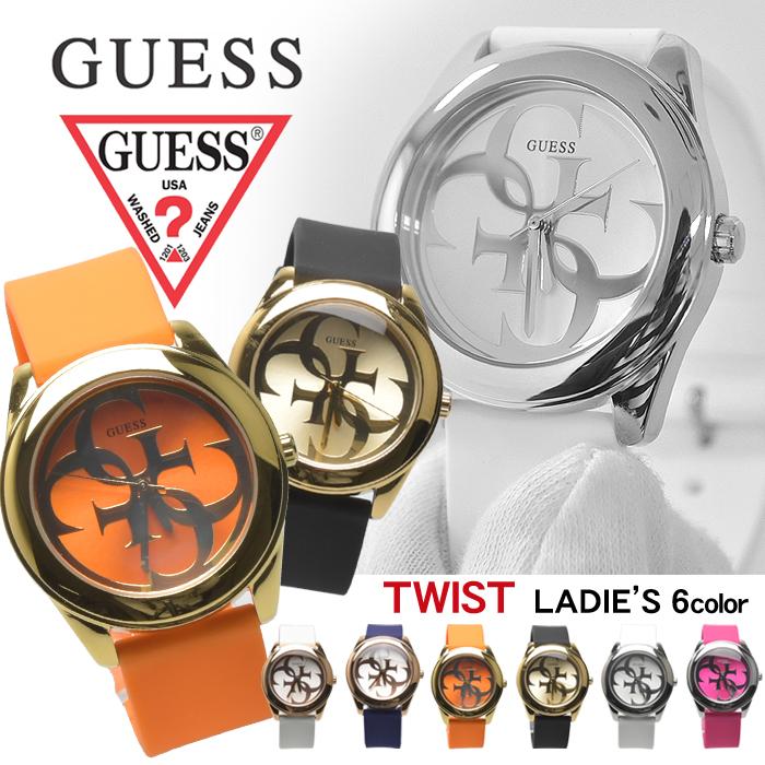 ゲス 腕時計 G ツイスト GUESS WATCHES 全6色G TWIST W0911 L1 L2 L3 L4 L5 L6ウォッチ 時計 アナログ クオーツ カジュアル ギフト プレゼント レディース 青 白 黒 GUESS