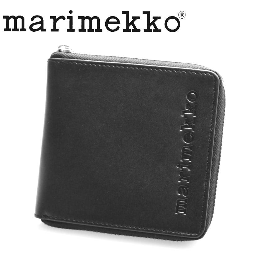 マリメッコ 財布 レディース MARIMEKKO ENEAN ウォレット 二つ折り財布 二折り コンパクト ウォレット 札入れ カジュアル シンプル 本革 レザー 牛革 ギフト プレゼント 贈り物 ミニマル ミニマム ブラック 黒 47573
