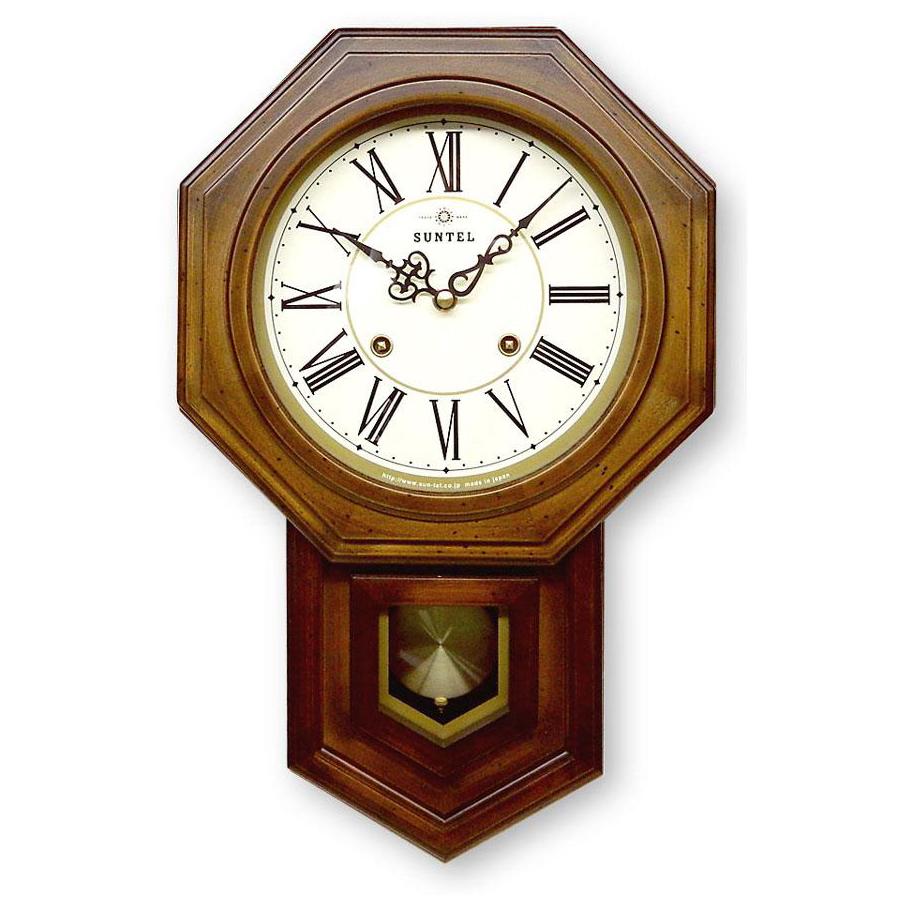 ボンボン振り子時計(ローマ文字) QL688R 八角渦ボン時計【同梱・代引き不可】