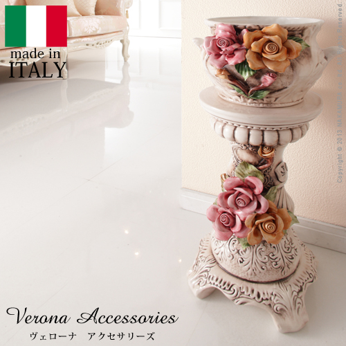 ヴェローナアクセサリーズ 陶製コラムポット イタリア 家具 ヨーロピアン アンティーク風 【代引不可】【同梱不可】