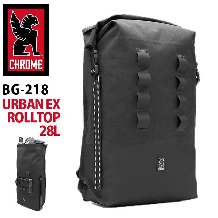 [ポイント5倍] CHROME クローム バッグ リュック 大容量 28L 正規品 リュックサック バックパック デイパック かばん おしゃれ メンズ ビジネス ブラック ナールウェルデッド アーバン イーエックス ロールトップ 28 KNURLED WELDED URBAN EX ROLLTOP 28 BG-218