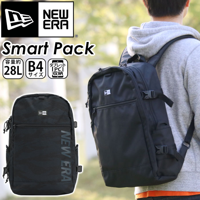 ニューエラ NEW ERA リュック 正規品 リュックサック デイパック バックパック メンズ レディース 男女兼用 ブラック 28L スクエア型 スクエアリュック 大容量 スマートパック Smart Pack