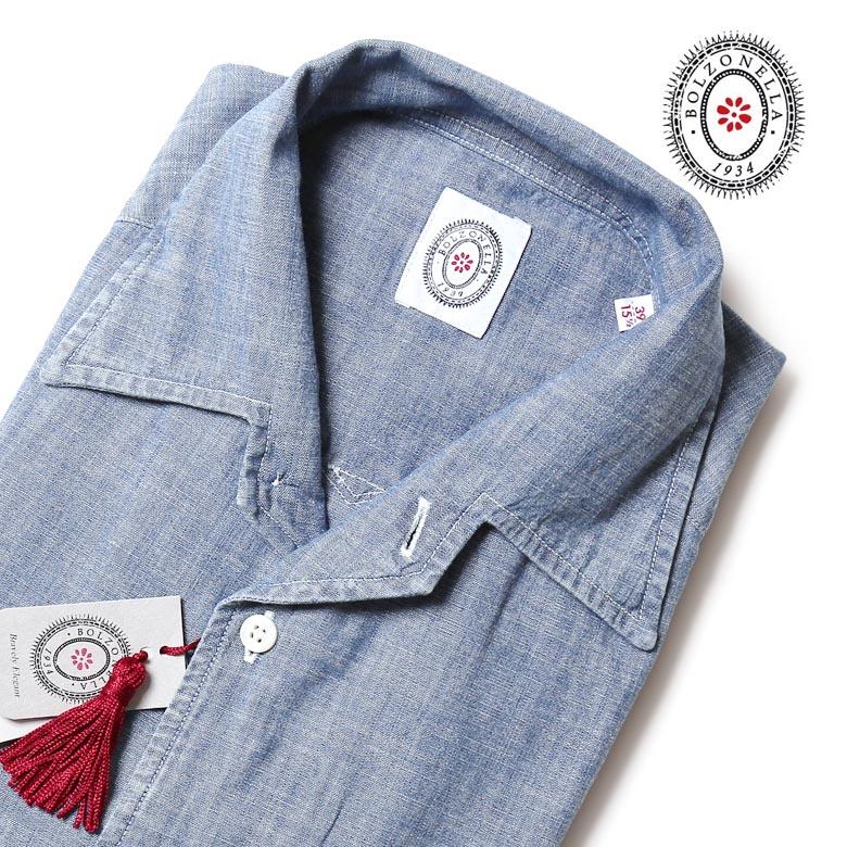 【スーパーセール】ボルゾネッラ シャツ シャンブレー オープンカラー 開襟 Bolzonella イタリア製 デニム メンズ 【送料無料】 【あす楽対応】