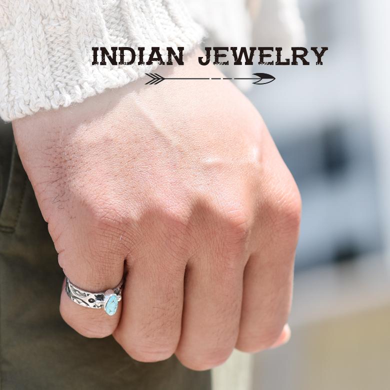 【スーパーセール】インディアンジュエリー リング ピンキー ターコイズ メンズ KEVIN RAMONE 指輪 シルバー ナバホ NAVAJO アメリカ製 ハンドメイド MADE IN USA インディアンクラフト インディアン・クラフト 【あす楽対応】