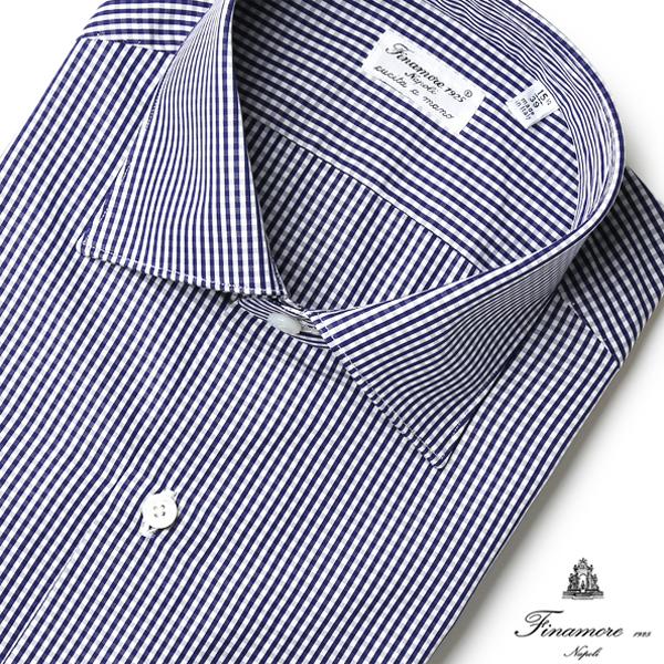 【スーパーセール】フィナモレ シャツ LUIGI ギンガムチェック ルイジ FINAMORE ドレスシャツ ワイシャツ ハンドメイド 定番 コットン 細身 MILANO イタリア製 メンズ 【送料無料】 【あす楽対応】