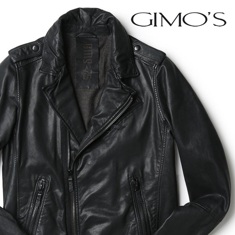 【スーパーセール】GIMOS レザー ジャケット ライダース ブラック 本皮 ジーモス 【送料無料】 【あす楽対応】