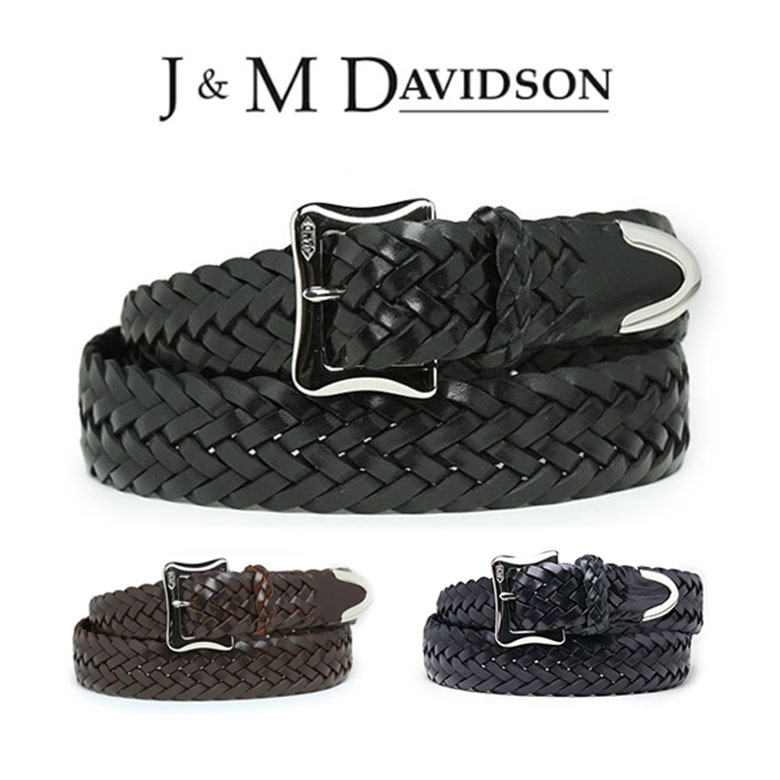 J&M DAVIDSON ベルト 30mm メッシュ レザー メンズ J&Mデヴィッドソン ベルト ブラック ブラウン ジェイアンドエムデヴィッドソン ギフト 【送料無料】