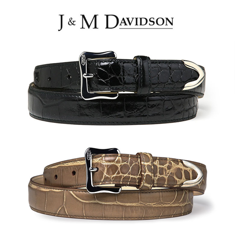 【スーパーセール】J&M DAVIDSON ベルト 25mm クロコ 型押し レザー J&Mデヴィッドソン ブラック イタリア製 ギフト 【送料無料】【あす楽対応】