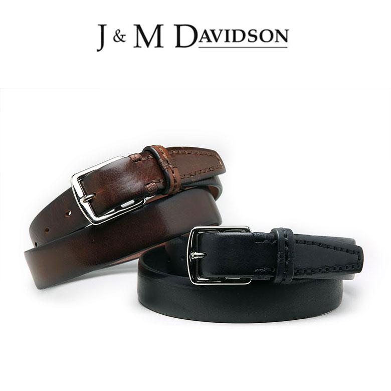 【スーパーセール】J&M DAVIDSON ベルト カーフレザー 30mm J&Mデヴィッドソン ダビッドソン ブラック ブラウン イタリア製 ギフト 【送料無料】【あす楽対応】