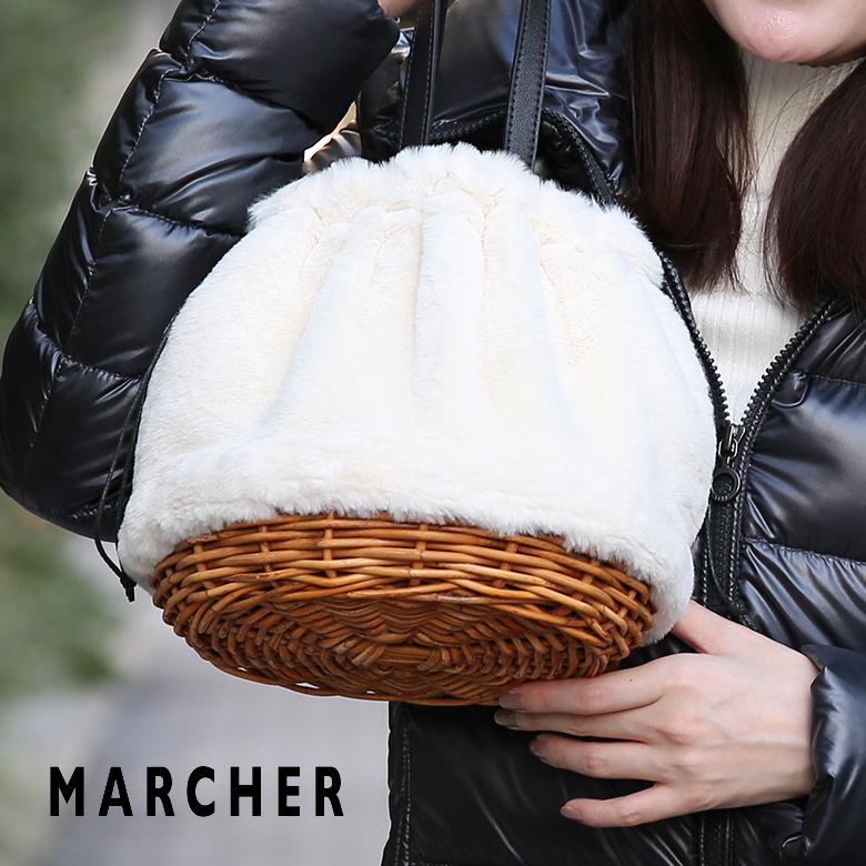 【スーパーセール】MARCHER マルシェ かごバッグ 秋冬 エコファー 巾着 レディース m1104103 鞄 バッグ 【送料無料】【あす楽対応】
