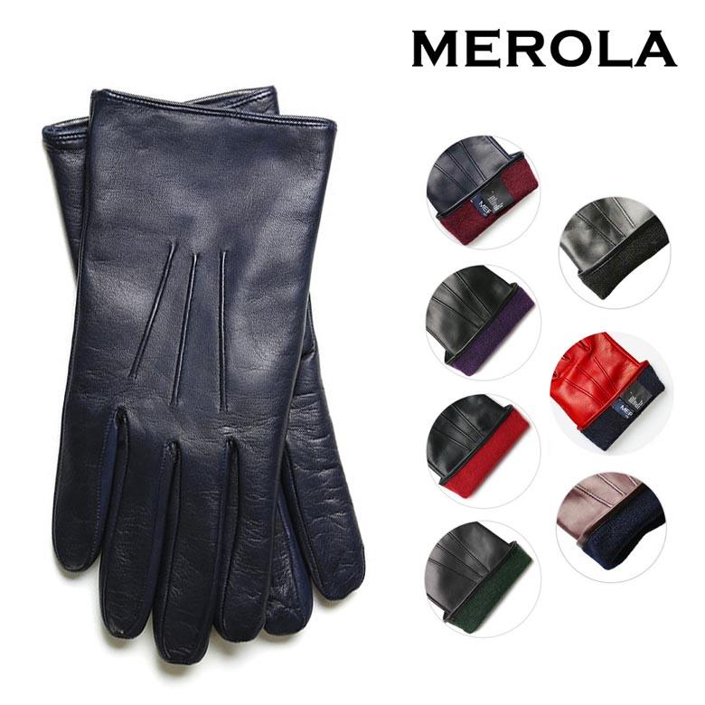 【100名限定5%OFF】MEROLA メローラ 手袋 グローブ メンズ ナッパレザーxカシミア 本皮 イタリア製 ハンドメイド ギフト プレゼント レザー 【あす楽対応】