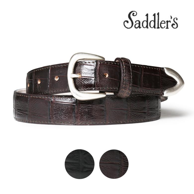 【エントリーでポイント5倍】サドラーズ クロコ調型押し レザー ベルト 3cm カーフ シンプル バックル G355 プンターレ Saddler's メンズ ブラック ブラウン 【あす楽対応】