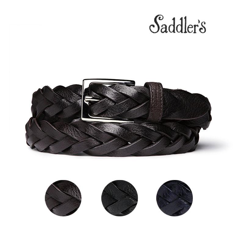 【スーパーセール】サドラーズ メッシュ ベルト 3cm 手編み ハンドメイド カーフ シンプル 角バックル G383 Saddler's メンズ ブラック ブラウン 【送料無料】 【あす楽対応】