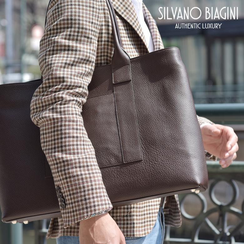 シルヴァーノ ヴィアジーニ トートバッグ シュリンクレザー メンズイタリア製 鞄 バッグ カーフ Silvano Biagini レザー 【送料無料】 【あす楽対応】