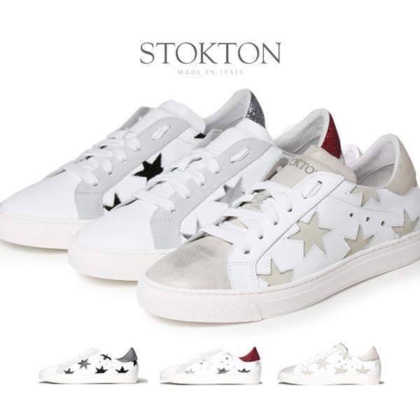 【スーパーセール】STOKTON ストックトン 星柄 メタリック スニーカー レディース 352-D シルバー ラメ ゴールド スター 【送料無料】【あす楽対応】