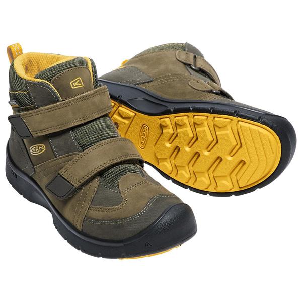 キーン KEEN Children Hikeport Mid Strap WP Dark Olive/Citrus [ハイクポートミッドストラップ][防水][冬用ブーツ][レインブーツ][キッズ][子供用][1/18 9:59まで ポイント10倍]