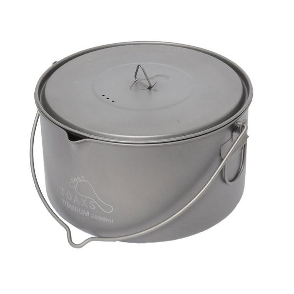 トークス TOAKS Titanium 2000ml Pot with Bail Handle [チタニウム2000mlポットウィズベイルハンドル][クッカー][鍋][ポット][アウトドア食器]