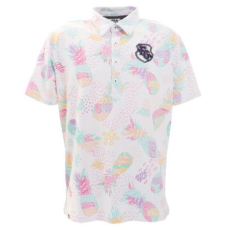フィラ(FILA) ゴルフ ポロシャツ メンズ パイナップル柄半袖シャツ 740616-WT (Men's)