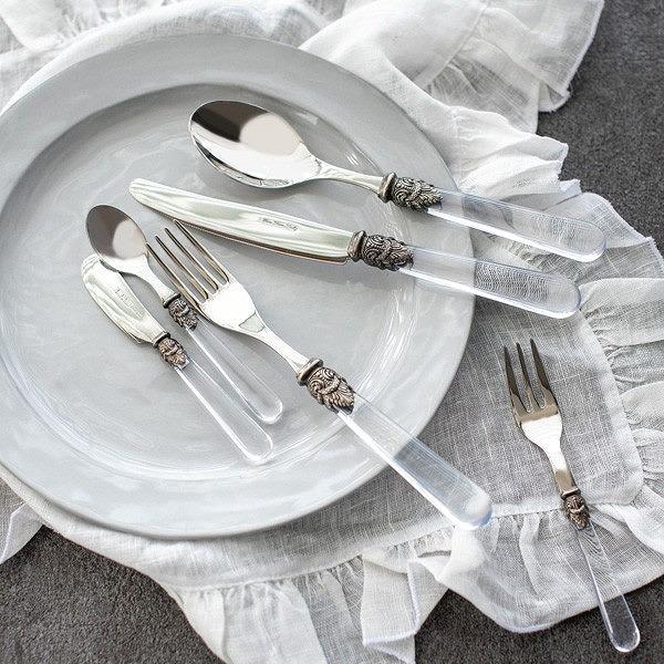 ヴィクトリアデザインはギフト用の食器やテーブルウェア 雑貨の専門店です 1着でも送料無料 ティースプーン クリア 新品 イタリア製 カトラリー 上質 エメカトラリー
