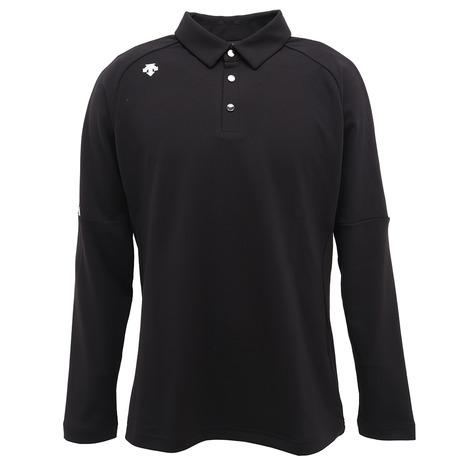 【pt_r1219】 デサントゴルフ(DESCENTEGOLF) ジャカードリブ 長袖ポロシャツ DGMOJB05-BK00 (Men's)