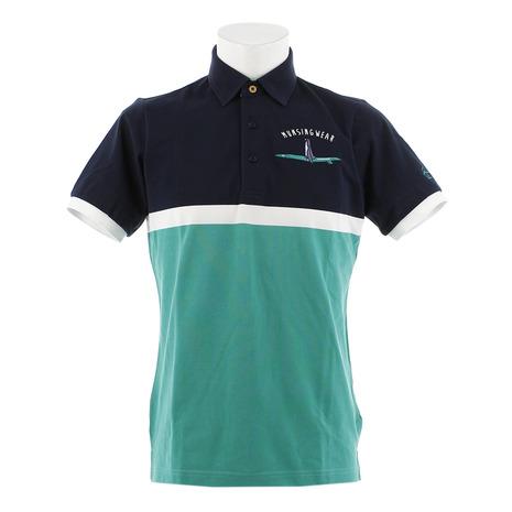 マンシングウエア(MUNSING WEAR) ゴルフウェア メンズ パネルボーダー半袖シャツ MGMNJA04X-NVGR (Men's)